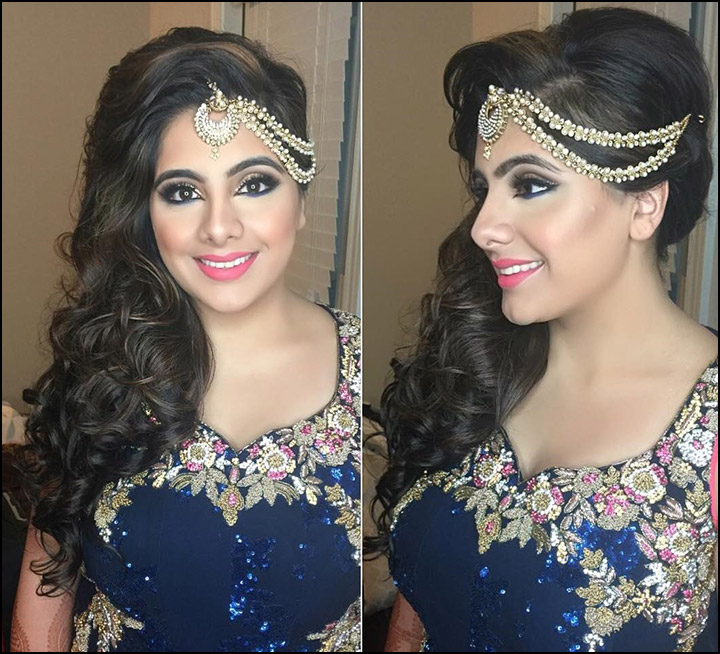 Indian bridal hairstyles long wavy side down do with curls and
