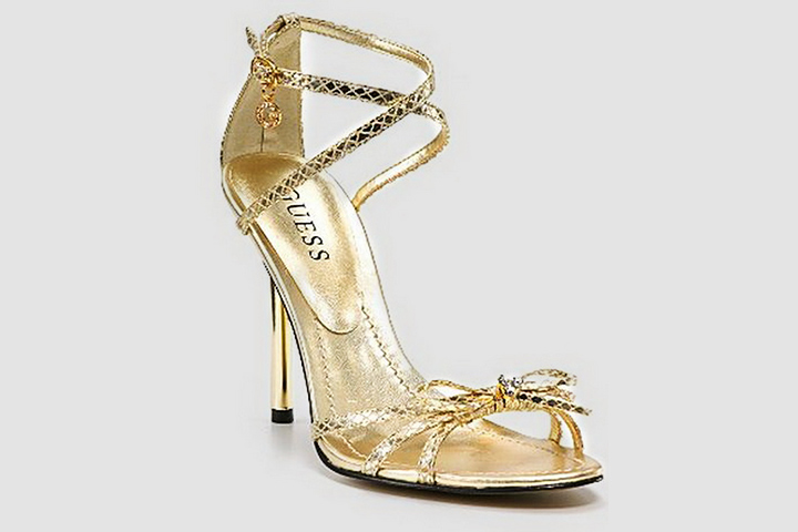 78ef28894c18 Designer Bridal Shoes - Guess Gold Strappy Sandals