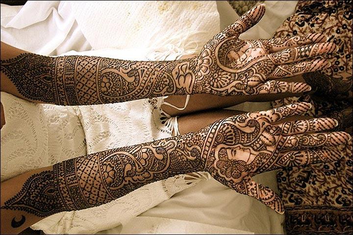 Easy Bridal Mehndi Patterns : Bridal dulha dulhan mehndi design lastest pink