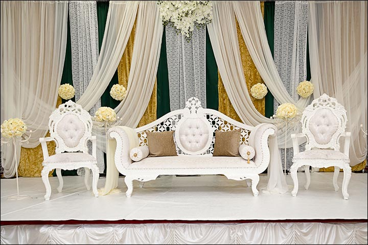 Indian wedding stage decoration ideas 9 ideas thatll inspire indian wedding stage decoration regal in white junglespirit Image collections