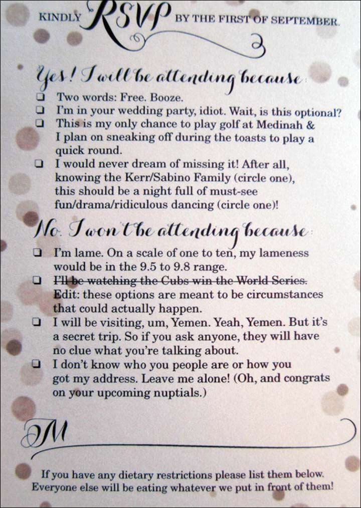Funny wedding invitation ideas 17 invites thatll leave the guests reason this clever and funny rsvp card filmwisefo