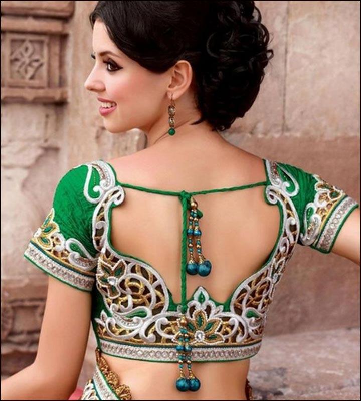 e634290febdcdb Blouse Back Neck Designs - Floral Embroidered Green & Silver Blouse Design