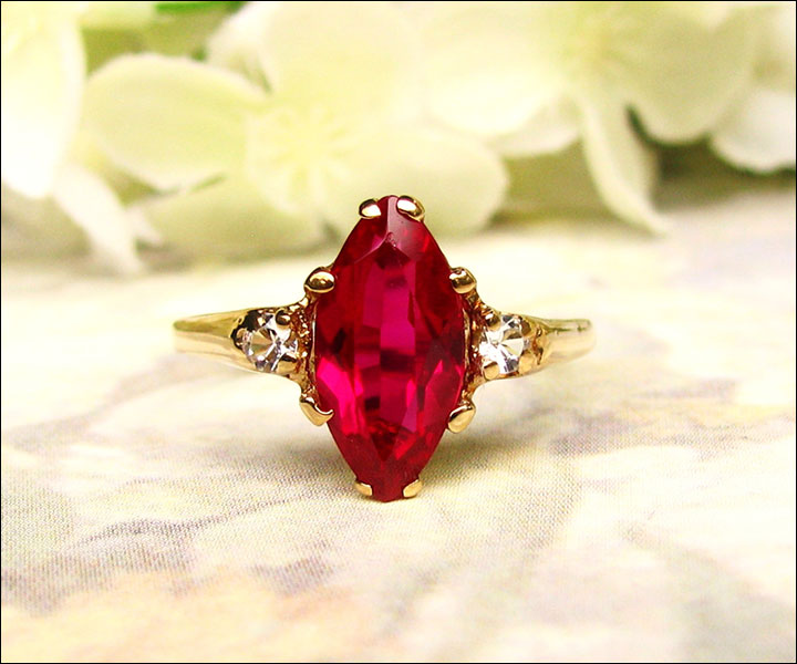 marquise ruby engagement ring - Ruby Wedding Ring