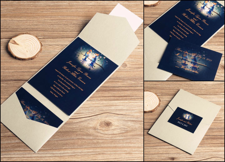 10 Super Cool And Stylish Navy Blue Wedding Invitations