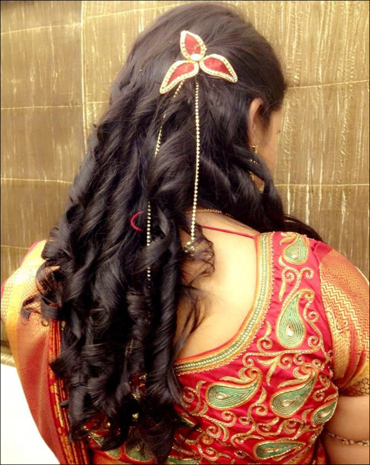Indian Bridal Hairstyles For Reception Wine Twists Updo