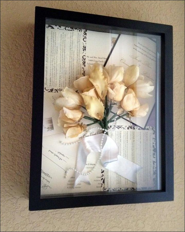 Wedding Gifts For Friends Framed Invitation And Flowers
