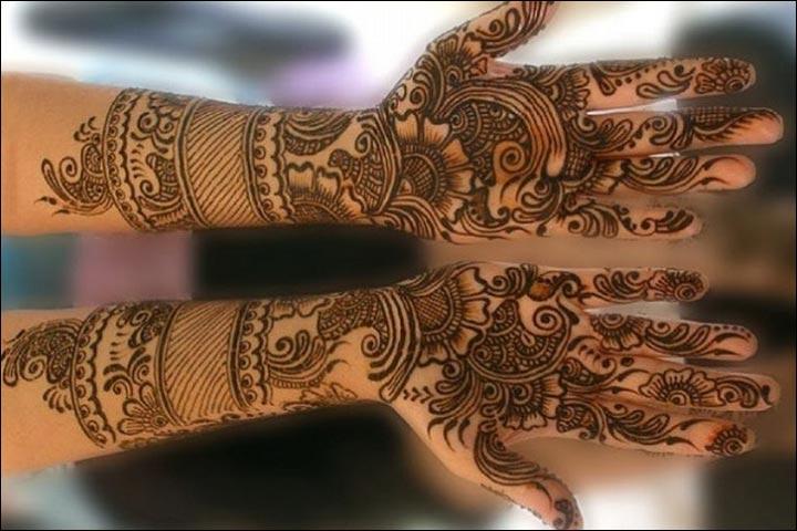 Rajasthani Bridal Mehndi Designs For Full Hands - Minimalistic Design