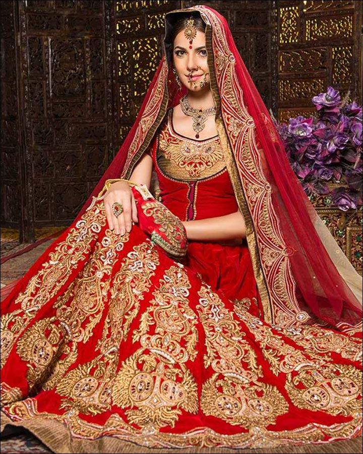 Indian Wedding Dresses Traditional Red And Gold Lehenga