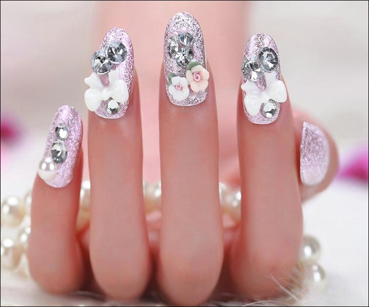 Classy Red Bridal Nail Art Designs