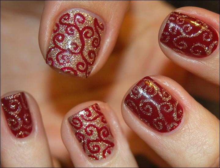 Bridal Nail Art Designs Swirled Twirls